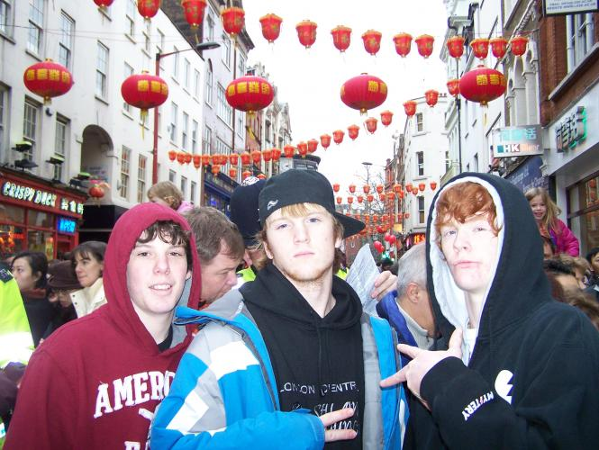 Zach, Alex, Cam in London at Chinese NY